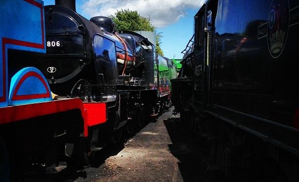 A locomotive traffic jam
